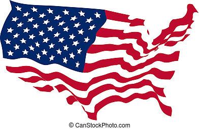 zjednoczony, mający kształt, stany, bandera