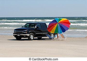 zjednoczony, południowy, stany, pickup samochód, texas, plaża