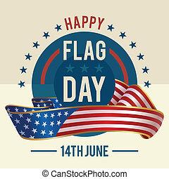 zjednoczony, powitanie, stany, bandera, dzień, karta