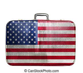 zjednoczony, rocznik wina, podróż, stany, torba, bandera, ameryka