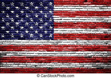 zjednoczony, stary, barwiony, stany, ściana, bandera, cegła, ameryka