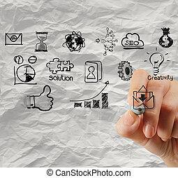 zmięty, pojęcie, handlowa strategia, papier, tło, rysunek, ręka, twórczy