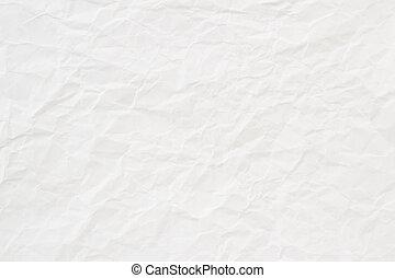 zmięty, struktura, papier, tło, biały, albo