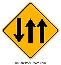 zmiana, warunki, dwa, droga, nadejście, dróżka, dróżki, traffic.three, handel, na przodzie, będzie