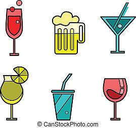 zmiany, komplet, ikona, sześć, napój