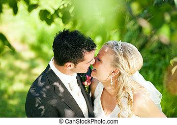 zmontowanie, para, romantyk, ślub