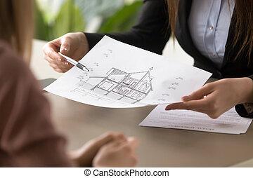 znacząc, agreem, stan, dom, pokaz, przedstawiciel, klient, plan, czynsz