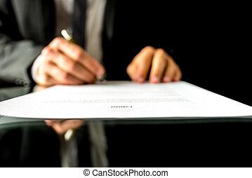 znacząc, tekst, ognisko, kontrakt, biznesmen, dokument