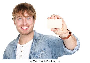 znak, człowiek, karta, pokaz, handlowy