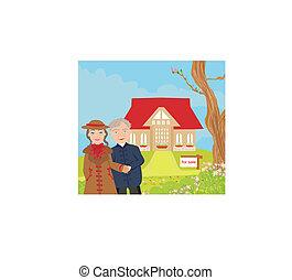 znak, dom, ilustracja, nowoczesny, sprzedaż, wektor, cielna, piękny