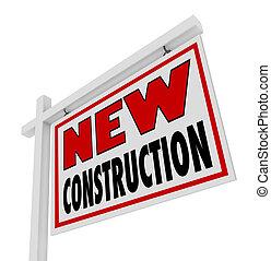 znak, dom, prawdziwy, zbudowanie, nowy, sprzedaż, dom, stan