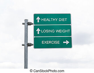 znak, droga, wykonując, chmury, dieta, ciężar, zdrowy, deficytowy