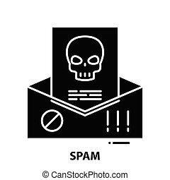 znak, editable, pojęcie, ilustracja, uderzenia, wektor, czarnoskóry, spam, ikona