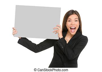 znak, handlowy, przestrzeń, podniecony szczęśliwy, asian, karta, kobieta interesu, afisz, kopia, chińczyk, biały, tekst, portrait., tło, advert., studio, kobieta, opróżniać, pokaz, wrzaskliwy, dzierżawa, odizolowany, czysty