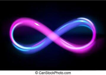 znak, illustration., czarnoskóry, błękitny, nieskończoność, kreska, wektor, wieczny, tło, fiołek, jarzący się, symbol, neon, energia, lekki