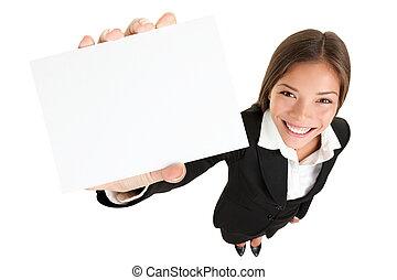 znak, kobieta, karta, pokaz, -, handlowy