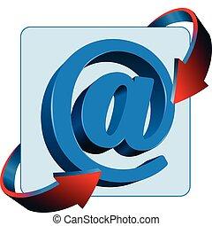 znak, kontakt, ikona, wektor, poczta