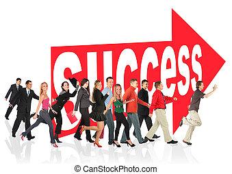 znak, ludzie handlowe, themed, powodzenie, collage, pasaż, następujący, strzała