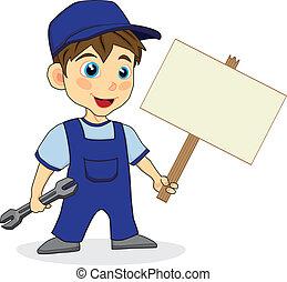 znak, mechanik, drewno, sprytny, chłopiec