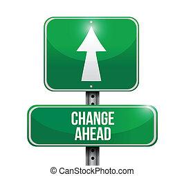 znak, na przodzie, droga, ilustracja, zmiana