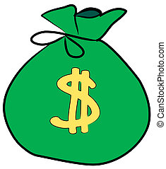 znak, pieniądze, dolar, torba, przód