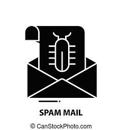 znak, pojęcie, uderzenia, czarnoskóry, poczta, editable, ikona, ilustracja, spam, wektor