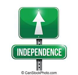 znak, projektować, droga, ilustracja, niezależność