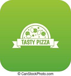 znak, smakowity, cyfrowy, zielony, ikona, pizza
