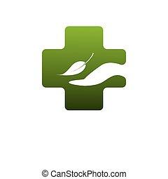 znak, symbol, abstrakcyjny, apteka, zielony, medyczny