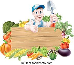 znak, warzywa, ogrodnik