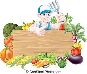 znak, warzywa, rysunek, ogrodnik