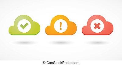 znaki, chmury, czek, ikony