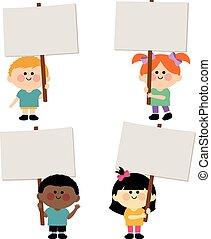znaki, dzieciaki, grupa, dzierżawa, czysty