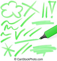 znakowanie, barwny, highlighter