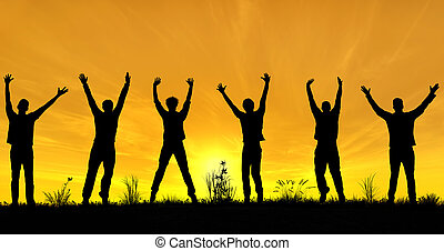 znowu, świętując, mężczyźni, sylwetka, młody, distancing, wolność, towarzyski