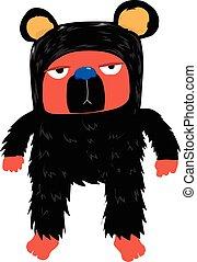 znudzony, litera, niedźwiedź, twarz, czarnoskóry, wełna, rysunek, czerwony