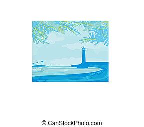 zobaczony, latarnia morska, plaża, malutki