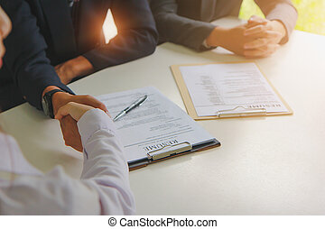 zrobienie, biznesmen, porozumienie, handshake., osiąganie, handlowy, deal.