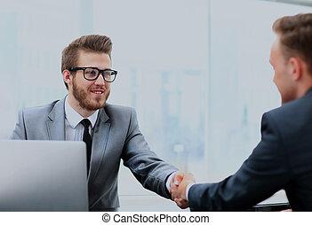 zrobienie, biznesmeni, porozumienie, dwa