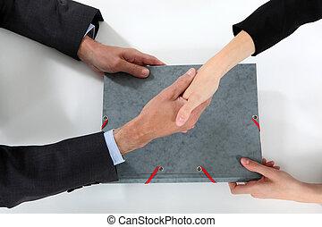 zrobienie, businesspeople, transakcja