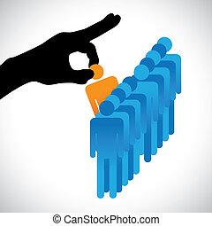 zrobienie, osoba, inny, graficzny, kandydaci, towarzystwo, hr, wybierając, najlepszy, widać, prawica, sylwetka, wybór, praca, zręczności, dużo, employee., ilustracja, przedstawiony, pojęcie