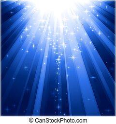 zstępny, lekki, magia, gwiazdy, belki