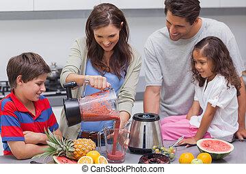 zsyp, owoc, mikser, kobieta, rodzina