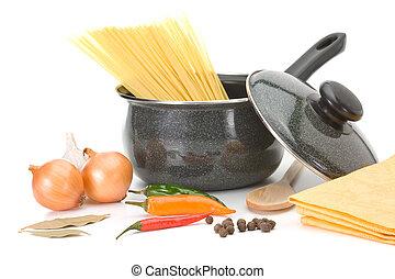 zupa, kurczak, rondel, składniki