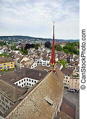 zurych, szwajcaria, antenowy prospekt