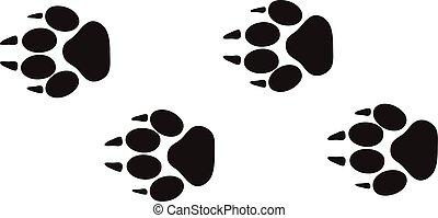 zwierzę, kroki, vector., ślady, stopa, projektować, odizolowany, dziewiczość, biały, ślady, odciski, pojęcie