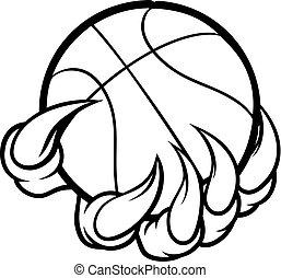 zwierzę, pazur, potwór, albo, dzierżawa basketball, piłka