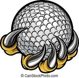 zwierzę, pazur, potwór, albo, dzierżawa, golfowa piłka