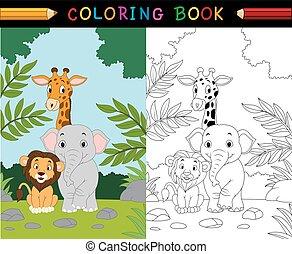 zwierzę, rysunek, kolorowanie, safari, książka