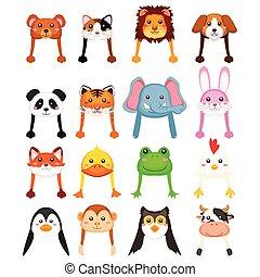 zwierzęta, kapelusz, rysunek